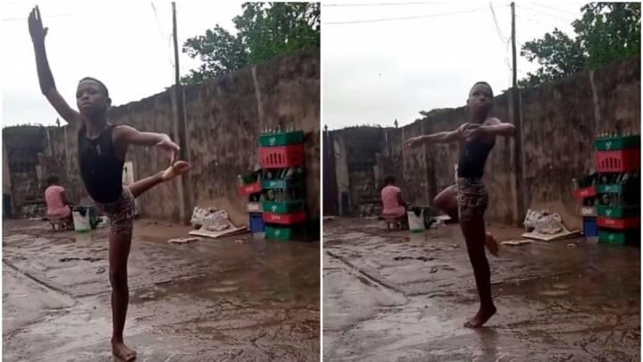 Un niño nigeriano se hizo viral bailando descalzo bajo la lluvia y ganó una beca para estudiar en Nueva York