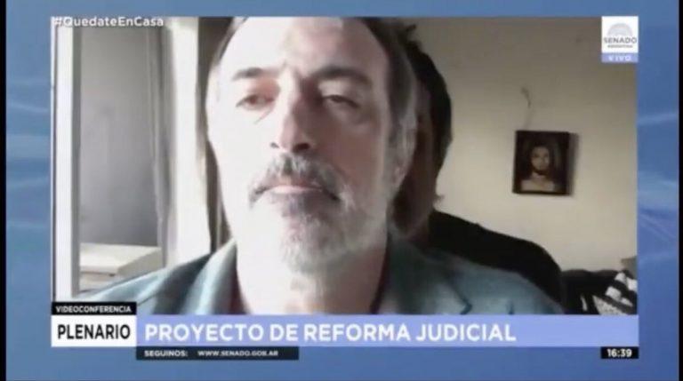 Senador argentino usó una figura de cartón de sí mismo para ausentarse de una sesión legislativa online